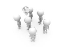 conceito do bulbo do homem 3d Imagem de Stock Royalty Free