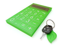 Conceito do cálculo do empréstimo automóvel com as chaves do carro isoladas no branco Fotos de Stock Royalty Free