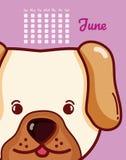 Conceito do cão e dos desenhos animados do calendário Imagens de Stock Royalty Free