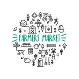 Conceito do círculo do mercado dos fazendeiros Imagens de Stock