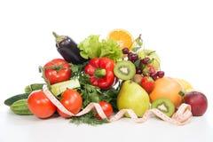 Conceito do café da manhã da perda de peso da dieta com a fita métrica orgânica Fotografia de Stock Royalty Free