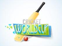Conceito do campeonato do mundo do grilo com bastão e bola Imagem de Stock Royalty Free