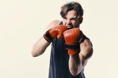 Conceito do campeonato e do treinamento Homem com cerda e a cara furioso imagens de stock