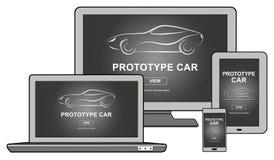 Conceito do carro do protótipo em dispositivos diferentes ilustração stock