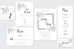 Conceito do cartão de casamento preto e branco ilustração stock