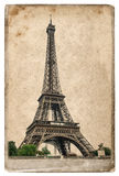 Conceito do cartão do estilo do vintage com torre Eiffel Paris imagens de stock royalty free