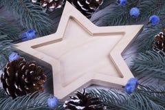 Conceito do cartão do feriado do ano novo do Xmas do Natal com as cinco bagas azuis de madeira vazias dos cones aguçado dos ramos Imagens de Stock Royalty Free