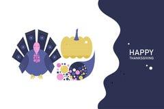 Conceito do cartão do molde para o dia da ação de graças em um estilo liso Turquia, abóbora, cornucópia com dia feliz da ação de  ilustração royalty free