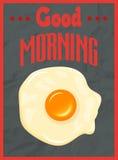 Conceito do cartaz do bom dia com ovo frito Fotos de Stock Royalty Free