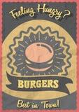 Conceito do cartaz dos Hamburger do vintage Inseto retro ou folheto com hamburguer Imagem de Stock