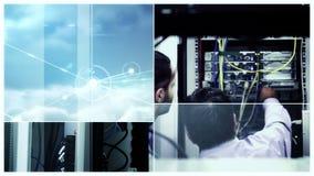 Conceito do centro de dados com trabalhadores video estoque