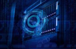 Conceito do centro de dados do armazenamento de disco Tecnologia da informação e base de dados no fundo tecnologico foto de stock