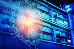 Conceito do centro de dados do armazenamento de disco Tecnologia da informação e base de dados no fundo tecnologico ilustração do vetor