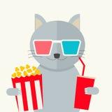 Conceito do cinema Filme de observação do gato Foto de Stock