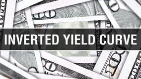 Conceito do close up da curva de rendimento invertido Dólares americanos do dinheiro do dinheiro, rendição 3D Curva de rendimento ilustração royalty free