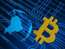 Conceito do close up dos cubos pequenos do metal em uma disposição aleatória que se acumulam para formar o símbolo do bitcoin em  Ilustração Royalty Free