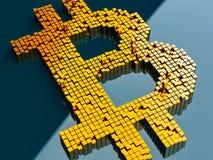 Conceito do close up dos cubos pequenos do metal em uma disposição aleatória que se acumulam para formar o símbolo do bitcoin em  Fotos de Stock