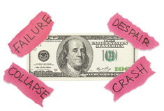 Conceito do colapso do dólar Fotos de Stock