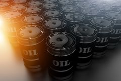Conceito do combustível fóssil de tambores de óleo Fotografia de Stock Royalty Free