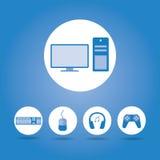 Conceito do computador, ícone do gamer Fotografia de Stock Royalty Free