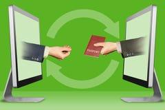 Conceito do computador, duas mãos dos computadores defendendo o gesto e o passaporte ilustração 3D Fotografia de Stock Royalty Free