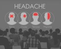 Conceito do conjunto da tensão da enxaqueca do sintoma da dor de cabeça Fotos de Stock Royalty Free