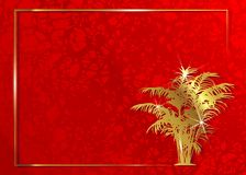 Conceito do convite do cartão do tapete vermelho Quadro exótico floral do ouro e fundo vermelho Academia das concessões da ESTREL ilustração do vetor