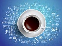 Conceito do copo de café Ícones da saúde com a caneca quente do coffe Esporte e estilo de vida saudável com café Fotos de Stock