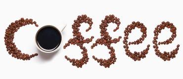 Conceito do copo e do feijão de café imagem de stock royalty free