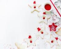 Conceito do cozimento do ano novo do Xmas do Natal com feriado bonito Santa c Fotografia de Stock