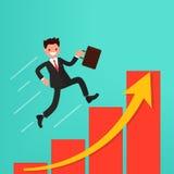 Conceito do crescimento ou do trajeto da carreira ao sucesso O homem de negócios corre acima Fotos de Stock