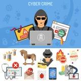 Conceito do crime do Cyber ilustração do vetor