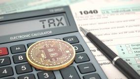 Conceito do cryptocurrency e dos impostos Fotografia de Stock Royalty Free