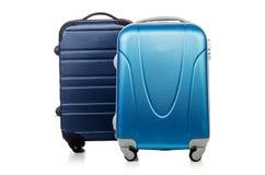 Conceito do curso com o suitacase da bagagem isolado Foto de Stock