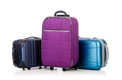 Conceito do curso com o suitacase da bagagem isolado Imagens de Stock Royalty Free