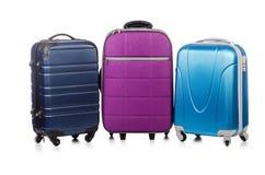 Conceito do curso com o suitacase da bagagem isolado Imagens de Stock