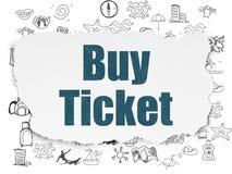 Conceito do curso: Compre o bilhete no fundo de papel rasgado Foto de Stock Royalty Free