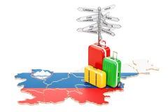 Conceito do curso de Eslovênia Mapa esloveno com malas de viagem e signpo Fotografia de Stock Royalty Free