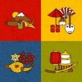Conceito do curso do japonês de Ásia do vetor com objetos Imagens de Stock Royalty Free