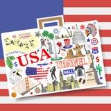 Conceito do curso dos EUA Ajuste ícones e símbolos do vetor no formulário da mala de viagem Fotos de Stock Royalty Free
