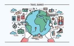Conceito do curso e do turismo Bandeira horizontal da propaganda com terra, globo, transporte, viajante necessário das coisas ilustração stock