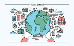 Conceito do curso e do turismo Bandeira horizontal da propaganda com terra, transporte, viajante necessário das coisas colorido ilustração do vetor