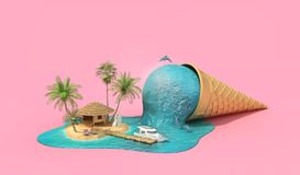 conceito do curso Ilha do abrandamento no mar como o gelado de derretimento Foto de Stock Royalty Free