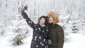 Conceito do curso do inverno Pares novos felizes que fazem a foto do selfie no smartphone fora com a floresta da neve no fundo vídeos de arquivo