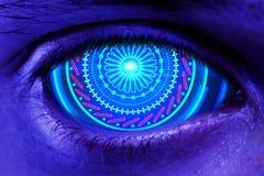 Conceito do Cyberspace, da biométrica e dos dados fotos de stock royalty free