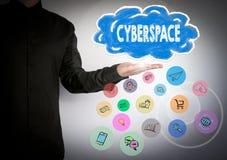 conceito do Cyberspace Nuvem e e ícones Fundo do negócio imagem de stock royalty free