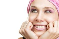 Conceito do Daydream - mulher ansiosa feliz Fotografia de Stock