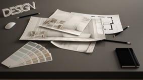 Conceito do desenhista do arquiteto, tabela próxima acima com o esboço interior da renovação, desenhos do modelo do design de int imagem de stock