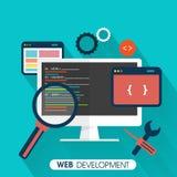 Conceito do desenvolvimento da Web com dispositivos Fotografia de Stock