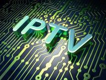 Conceito do desenvolvimento da Web de SEO: IPTV no fundo da placa de circuito Fotografia de Stock Royalty Free